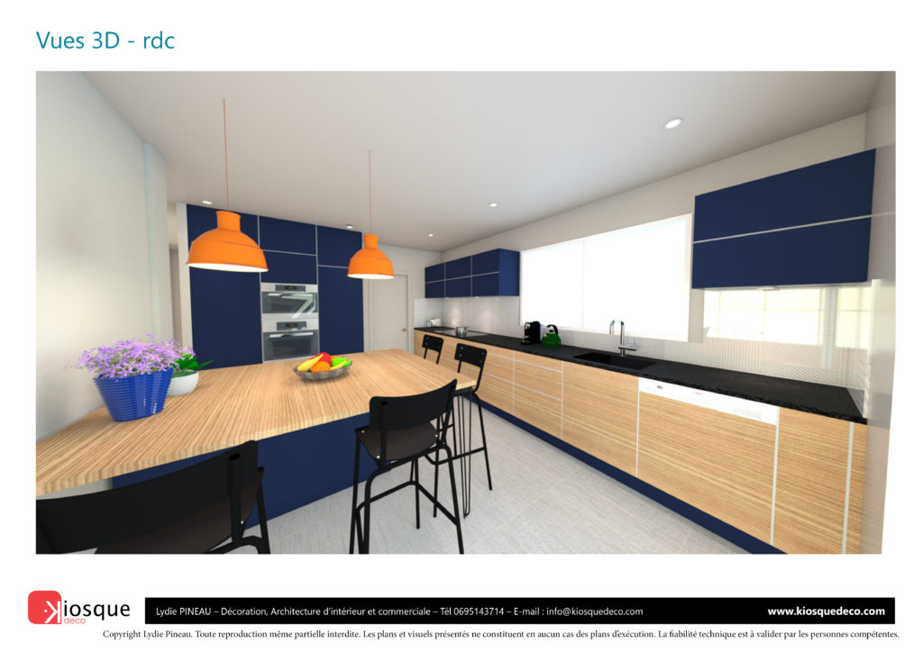 CONCEPTION CUISINE 3D PAR LYDIE PINEAU KIOSQUE DECO DECORATION ARCHITECTURE INTERIEUR NANTES