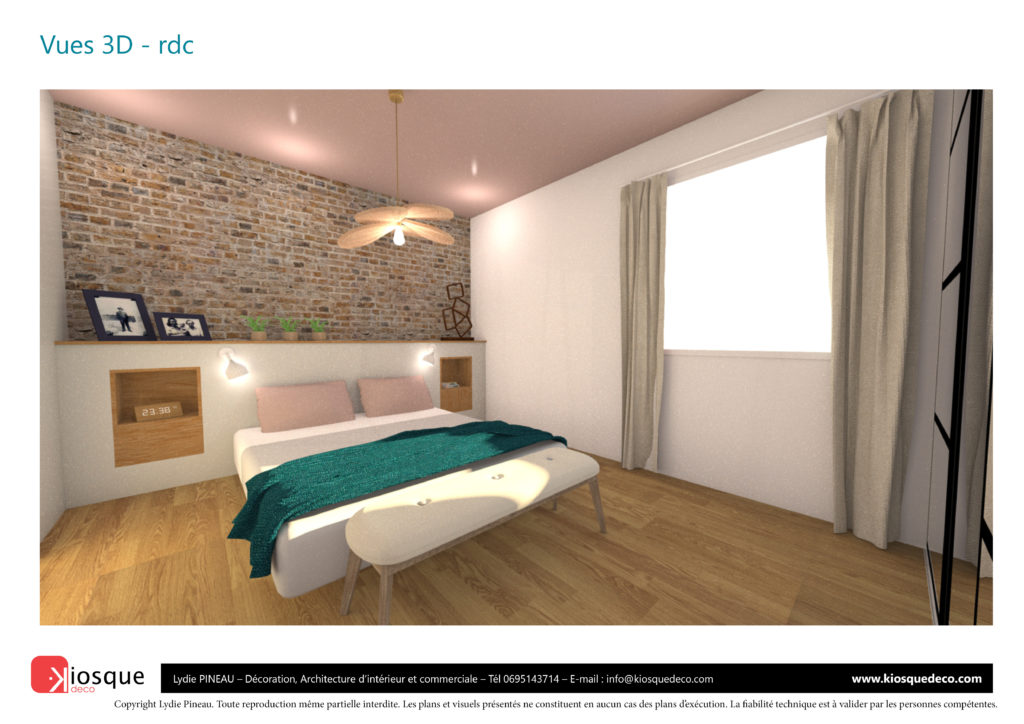 CONCEPTION CHAMBRE PARENTALE 3D PAR LYDIE PINEAU KIOSQUE DECO DECORATION ARCHITECTURE INTERIEUR NANTES